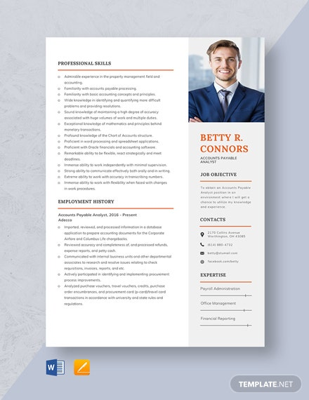 Accounts Payable Analyst Resume Template