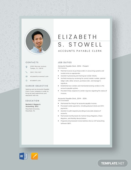 Accounts Payable Clerk Resume Template