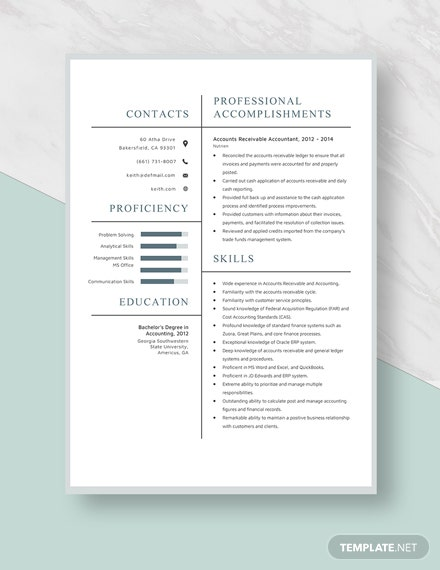 Accounts Receivable Accountants Resume Template