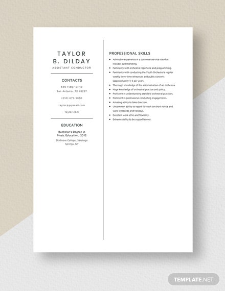 Assistant Conductor Resume Template