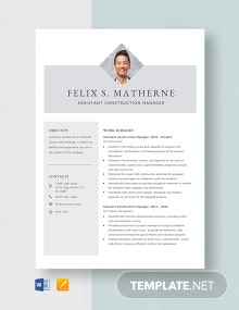 Assistant Construction Manager Resume Template