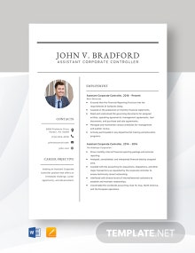 Assistant Corporate Controller Resume Template