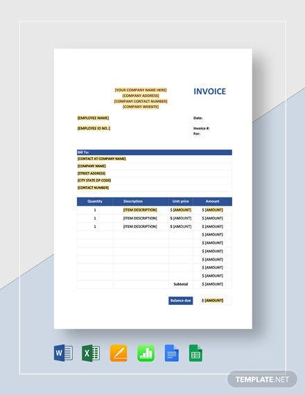 Sales Invoice - Excel Template