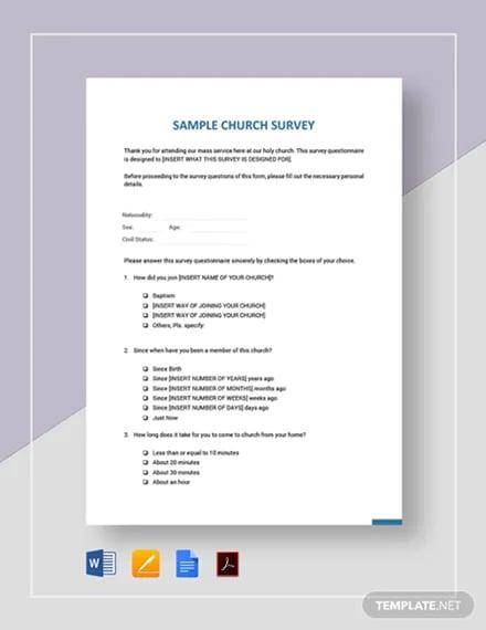 Sample Church Survey Template