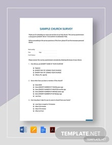 Sample Church Survey Template
