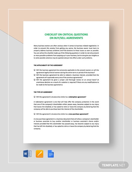 Checklist Sale of a Business / Critical What if Template