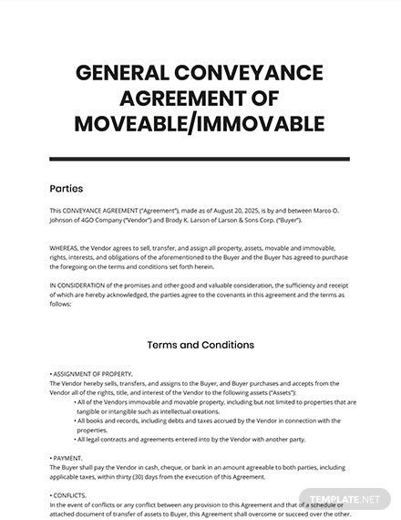 General Conveyance Agreement Moveable _ Immoveable Template