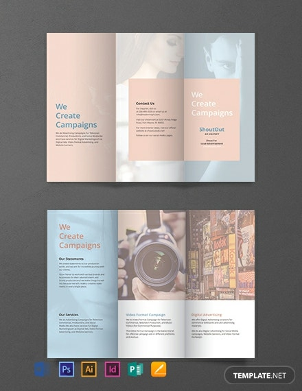 Trifold brochure design with colorful hexagon illustration free.