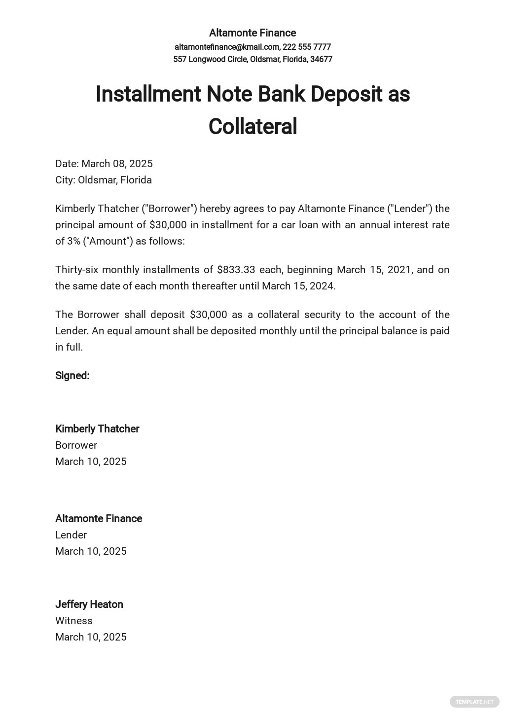 Installment Note Bank Deposit as Collateral Template.jpe