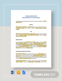 Installment Note Bank Deposit as Collateral Template