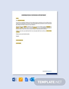 Confirmation of Interview Appointment Template