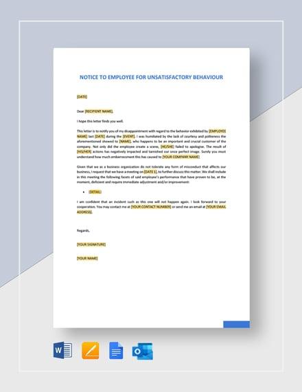 Notice to Employees of Unsatisfactory Behavior Template