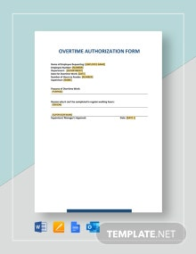 Overtime Authorization Form Template