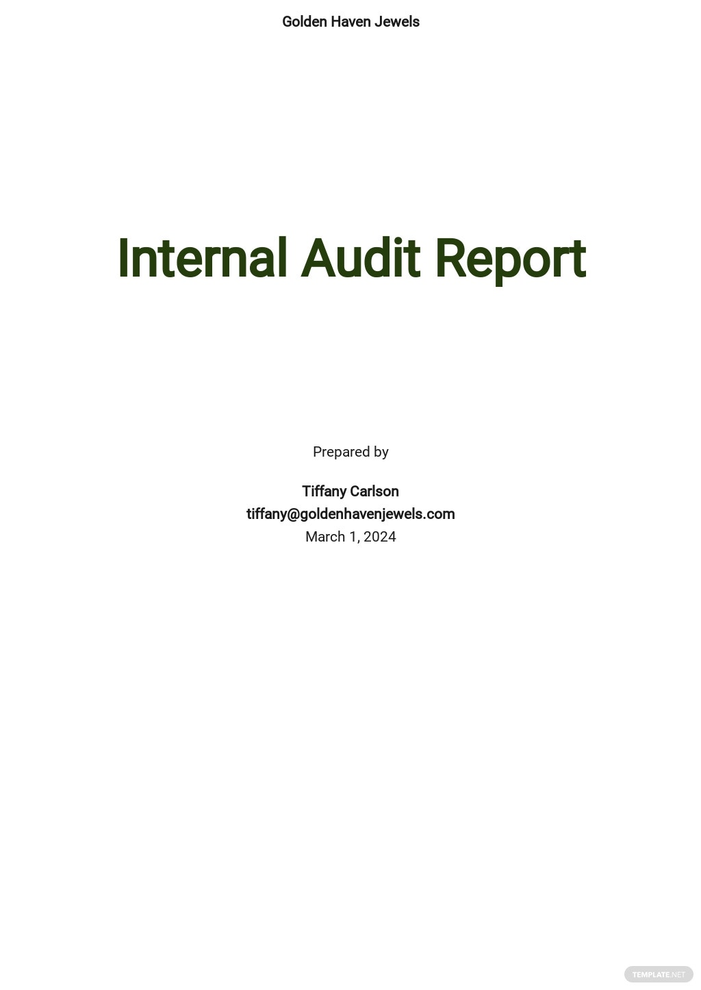 Simple Internal Audit Report Template