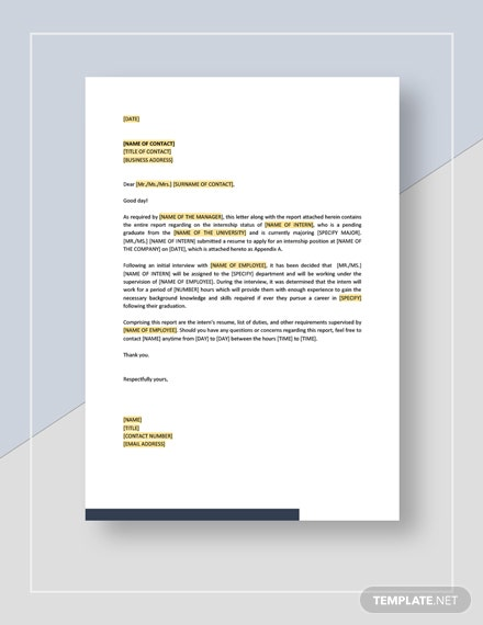 Internship Report Sample Template