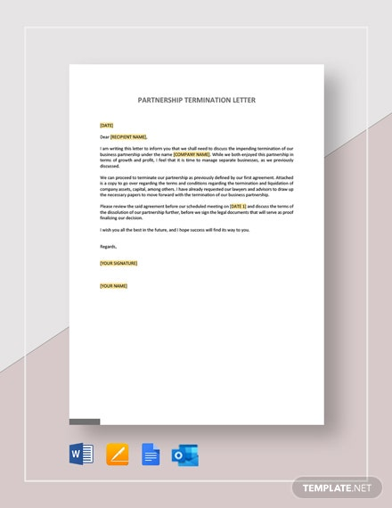 Partnership Termination Letter Template