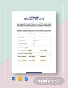 Reference Check Phone Script Form Template