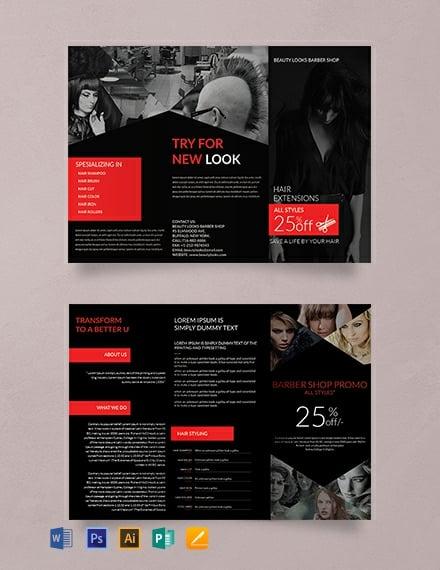 Free Barbershop A3 Tri-Fold Brochure Template