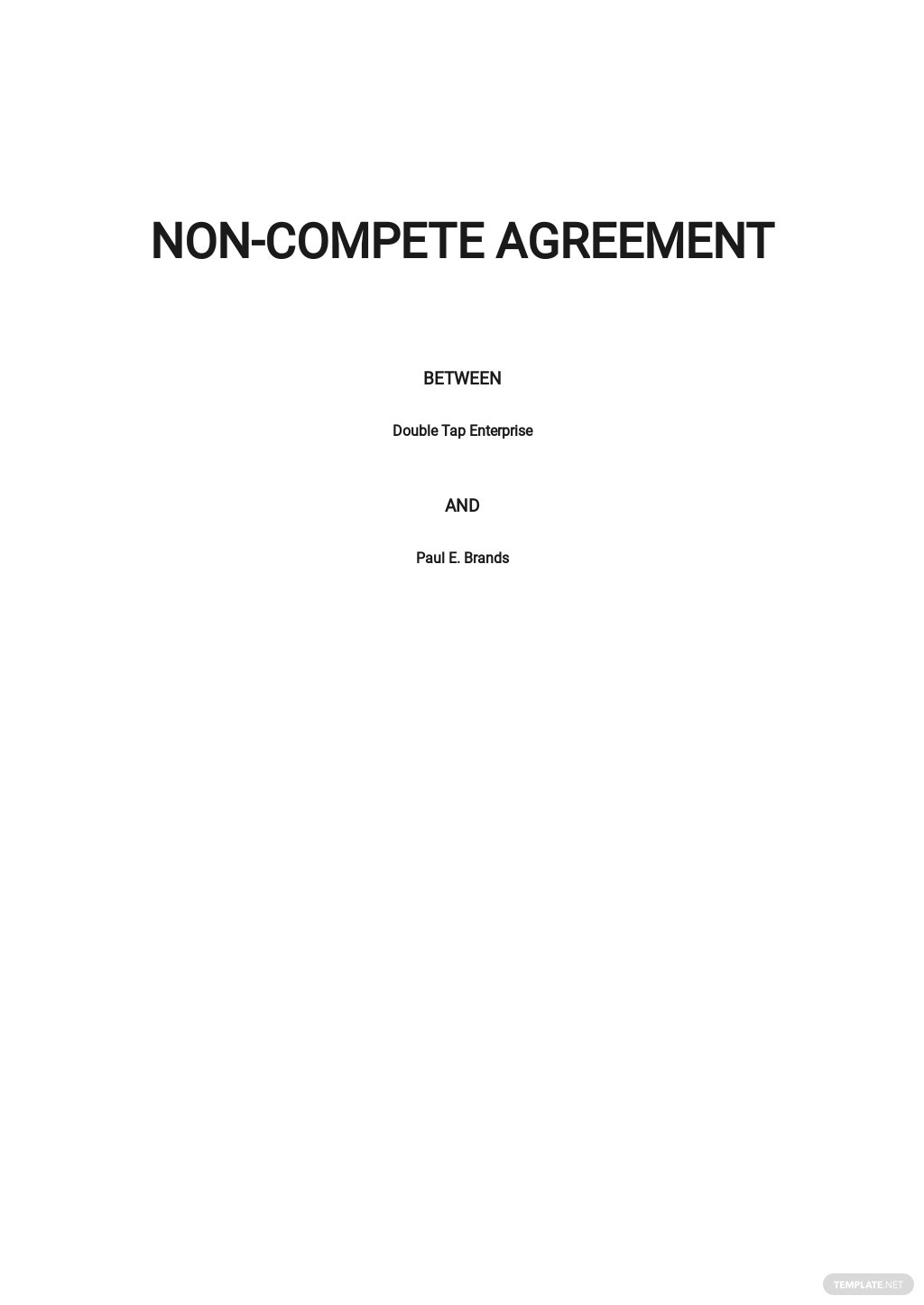 Sample Non Compete Agreement Template
