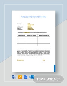 Payroll Deduction Authorization Form Template