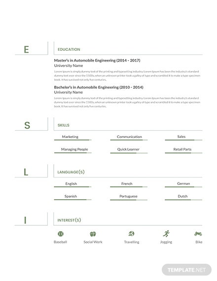Free Senior Automobile Engineer Resume Template Download 160