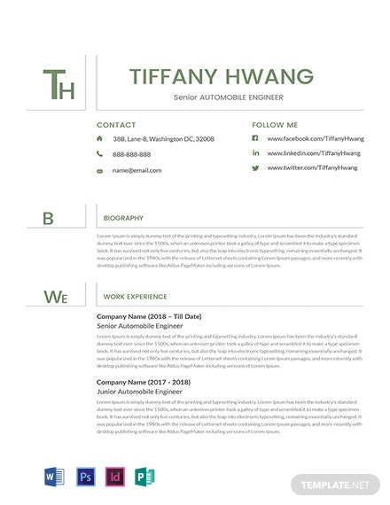Senior Automobile Engineer Resume Template [Free PSD] - InDesign, Word, Publisher