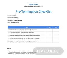Restaurant Employee Pre-Termination Checklist Template