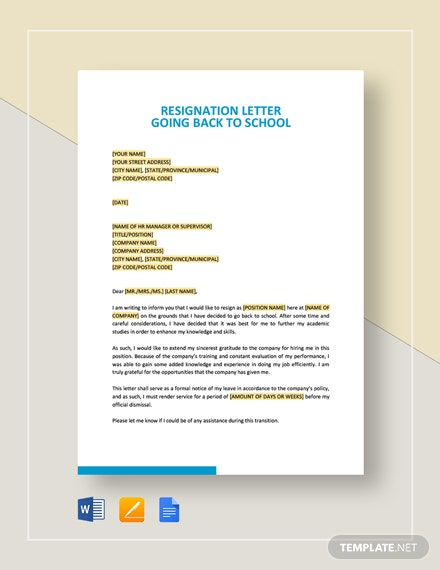 Resignation Letter Going Back to School Template