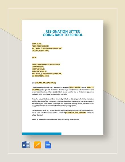 Resignation Letter Going Back to School
