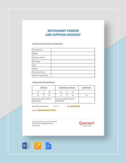 Vendor and Supplier Checklist Template