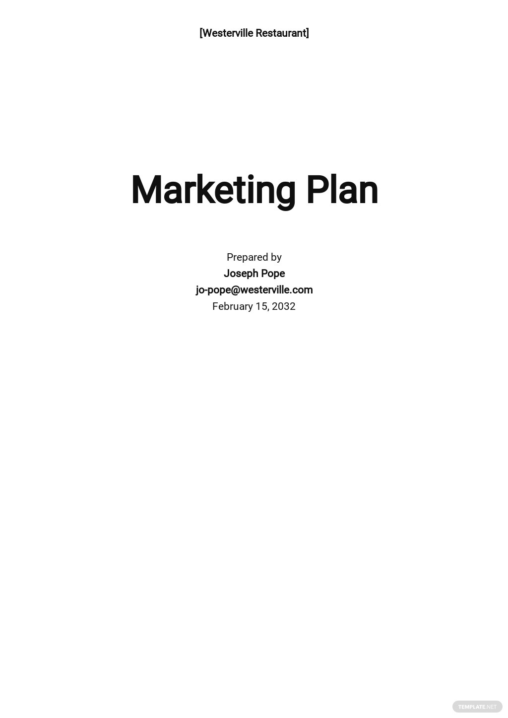 Restaurant Opening Marketing Plan Template