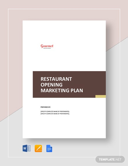 Restaurant Opening Marketing Plan Template
