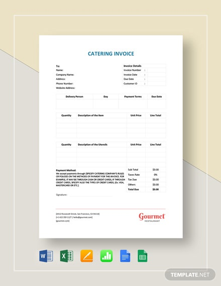 Catering Service Invoice Template