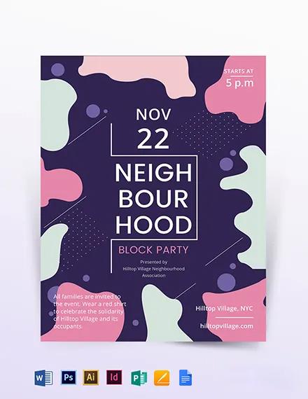 Neighbourhood Block Party Flyer Template