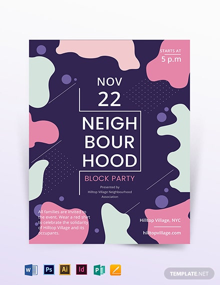 neighbourhood block party flyer template 1