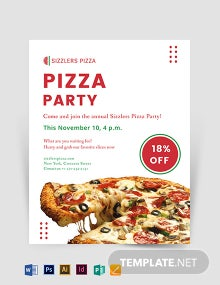 Elegant Pizza Party Flyer Template