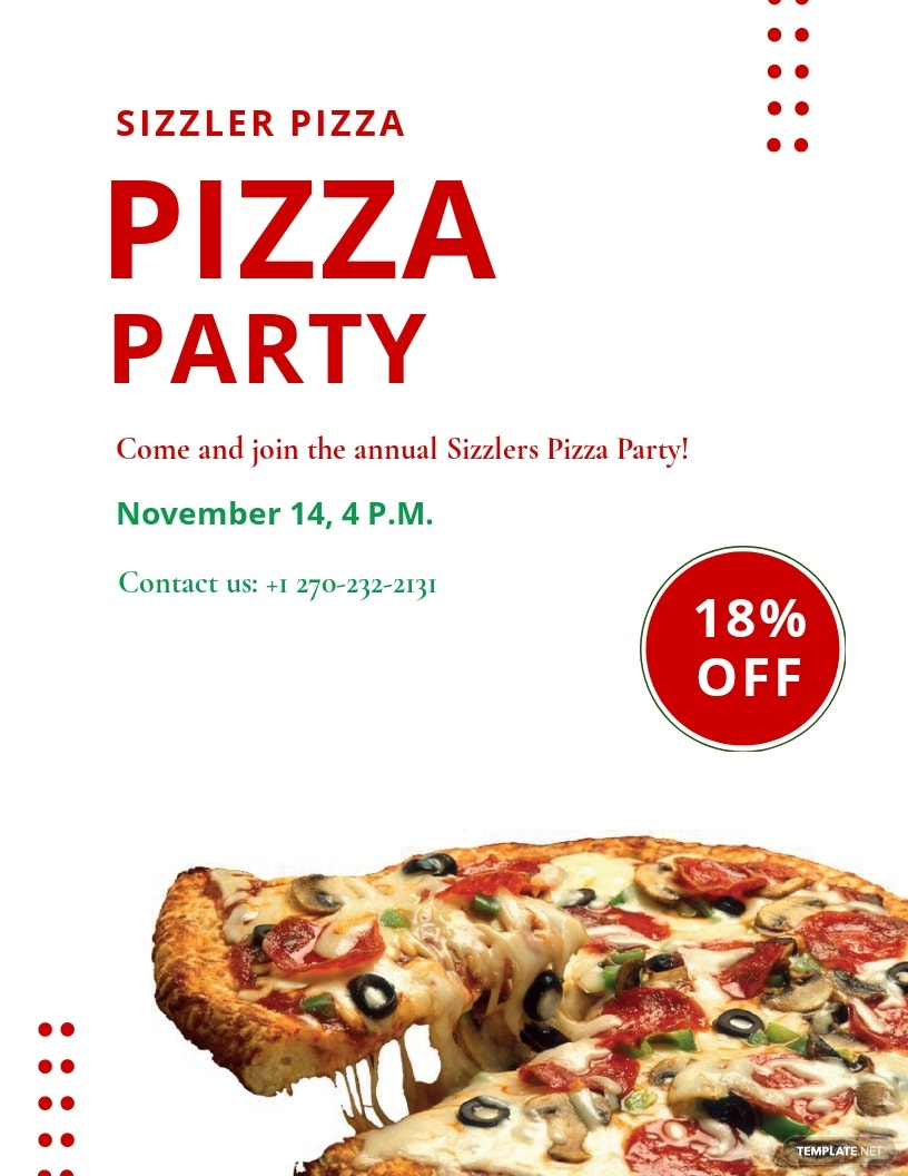 Elegant Pizza Party Flyer Template