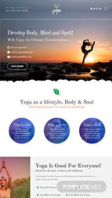 Free Yoga Instructor PSD Website Template