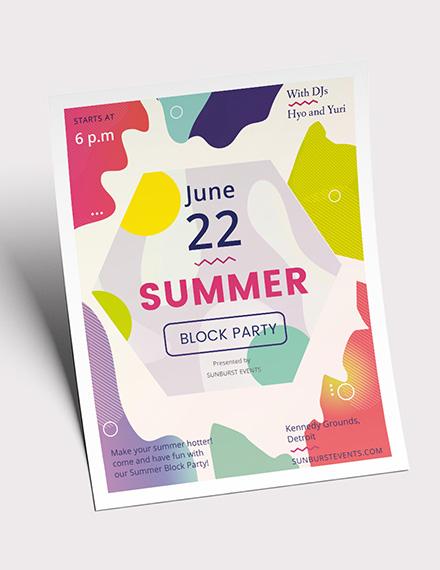 Summer Block Party Flyer Download