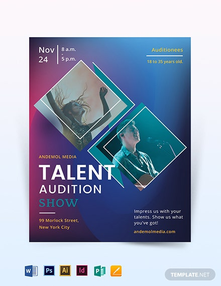 talent audition show flyer template 1