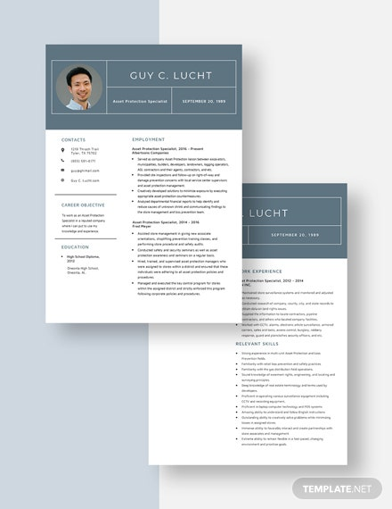 Asset Protection Specialist Resume Download