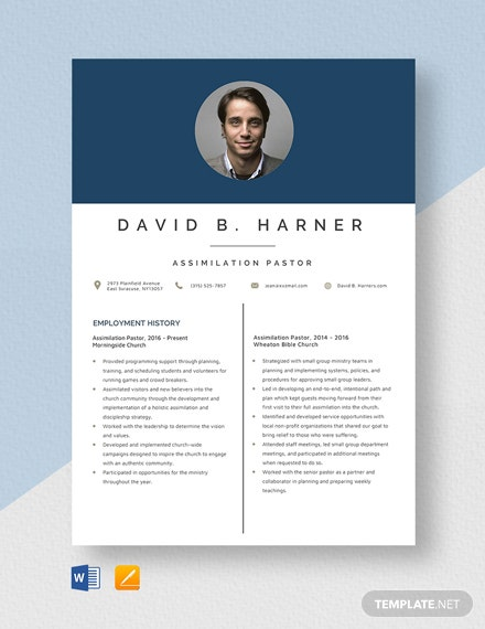 Assimilation Pastor Resume Template