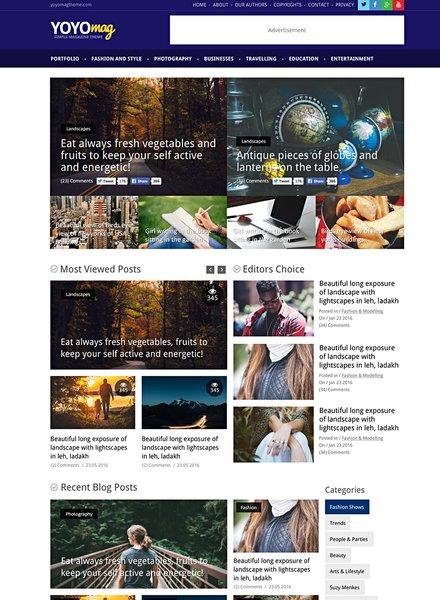 Free Online Magazine PSD Website Template