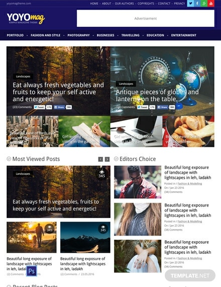 Free Online Magazine PSD Website Template