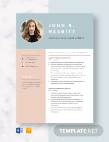 Assistant Compliance Officer Resume Template