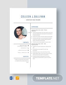 Assistant Dog Trainer Resume Template