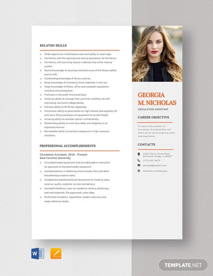 Circulation Assistant Resume Template