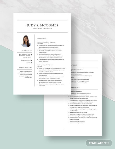 Clothing Designer Resume  Download