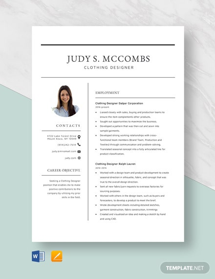 Clothing Designer Resume Template