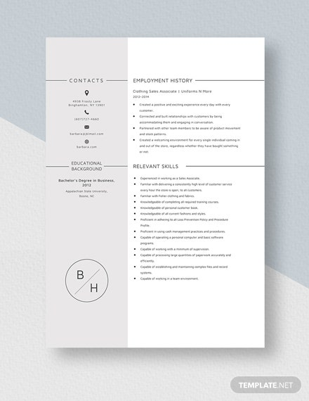 Clothing Sales Associate Template
